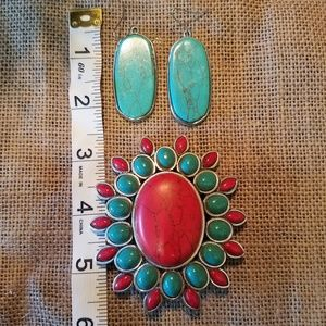 Jewelry - Faux Turquoise Earring and Pendant Set